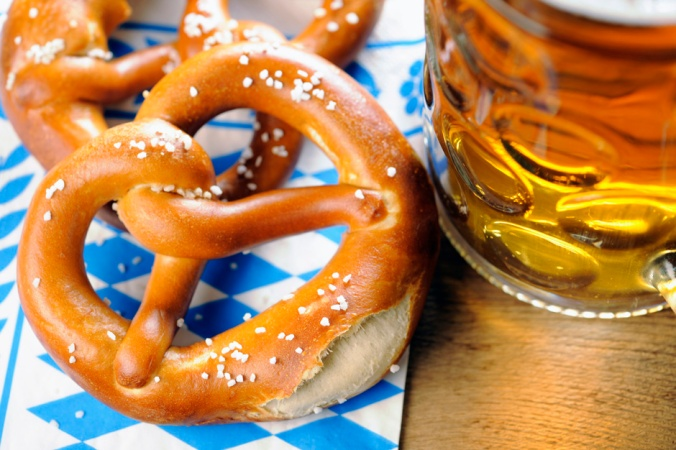 Pretzel on bavarian napkin